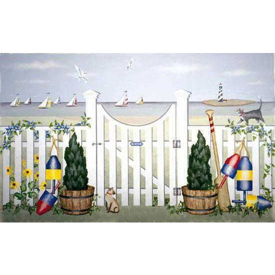 Garden Gate by the Shore Mural Stencil