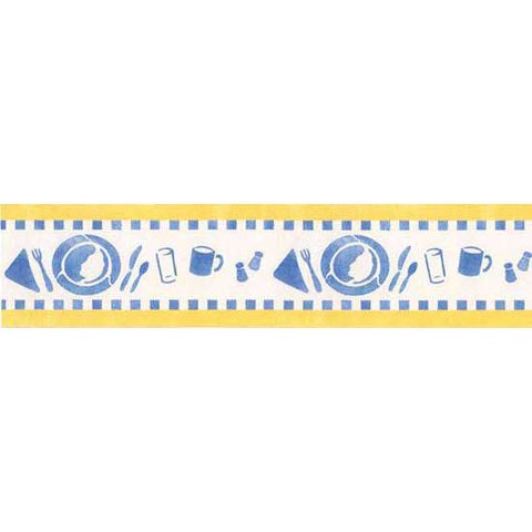 Blue Plate Special Kitchen Border Stencil