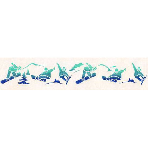 Decorate your child's room or mud room with our Snowboarding Wall Stencil!