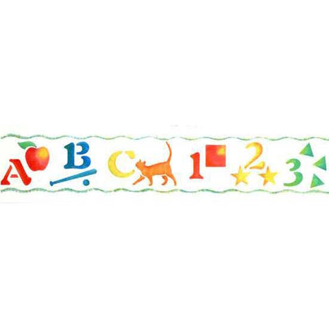 Decorate your child's room, playroom, or classroom with our ABC-123 Border Stencil!