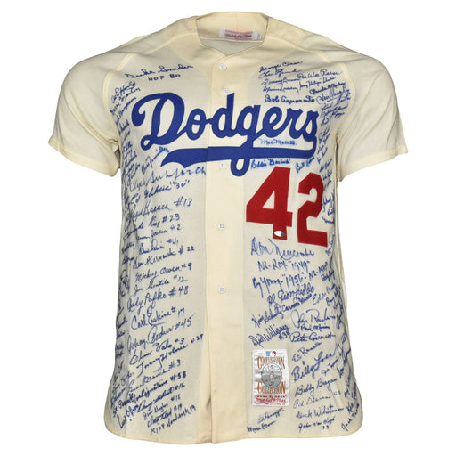 103-Signature Brooklyn Dodgers Greats Mitchell And Ness Authentic Cooperstown Collection Jackie Robinson Jersey (JSA LOA)
