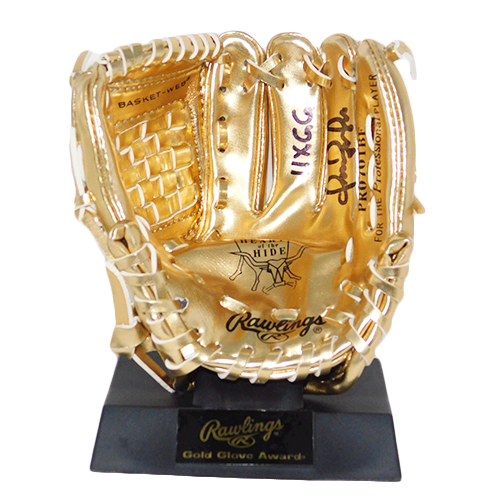 Omar Vizquel Autographed Rawlings Mini Gold Glove (JSA) with 11X GG Inscription