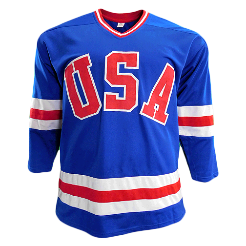 Miracle On Ice 18-Autograph 1980's Gold Medalists Team USA Jersey Blue (JSA)