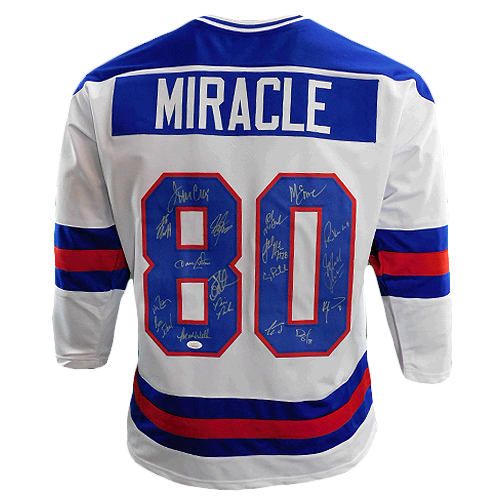 Miracle On Ice 18-Autograph 1980's Gold Medalists Team USA Jersey White (JSA)