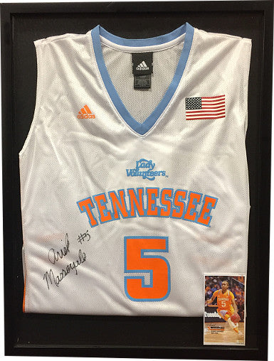 Ariel Massengale Signed Tennessee Lady Volunteers Adidas White Rep Jersey #5 Custom Framed 19x25 w/ Photo (Women's Basketball)