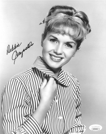 Debbie Reynolds Signed Vintage 8x10 Striped Blouse Photo (JSA DD32824)
