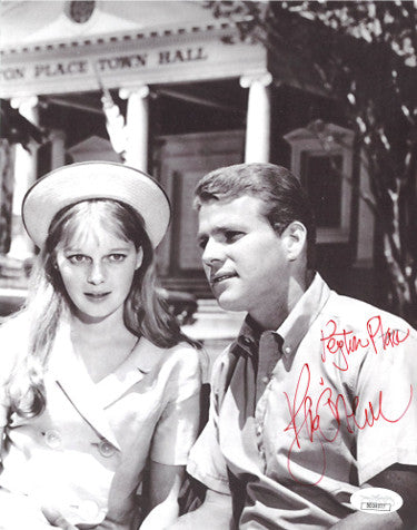 Ryan ONeal Signed 1964 Vintage 8x10 Peyton Place Photo With Mia Farrow (JSA DD39377)