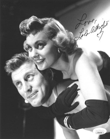 Lola Albright Signed Inscribed Love 1949 Champion Vintage 8X10 Photo With Kurt Douglas (JSA DD90958)