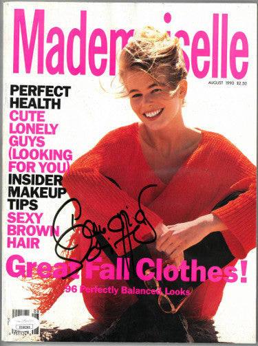 Claudia Schiffer Signed Mademoiselle Full Magazine August 1990 (JSA EE60260)