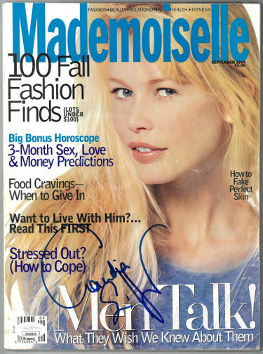 Claudia Schiffer Signed Mademoiselle Full Magazine September 1994 - Cover Damage (JSA EE60265)
