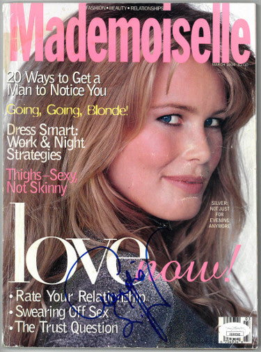 Claudia Schiffer Signed Mademoiselle Full Magazine March 1994 - Cover Damage (JSA EE60262)