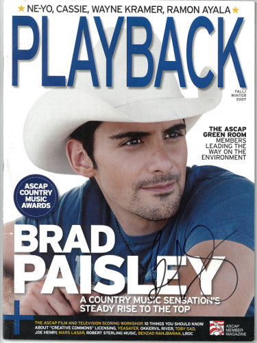 Brad Paisley Signed Playback Full Magazine Fall/Winter 2007 (JSA DD63015)