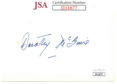 Dorothy McGuire From Ole Yeller/Gentlemans Agreement Signed 3x5 Index Card (JSA II11677)
