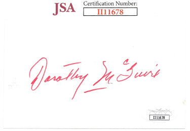 Dorothy McGuire From Ole Yeller/Gentlemans Agreement Signed 3x5 Index Card (JSA II11678)