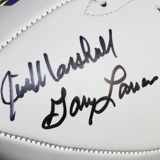 Purple People Eaters Eller, Larsen, Marshall, and Page Signed Minnesota Vikings Logo Football (Beckett)