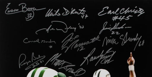 1969 new york jets super bowl iii team signed signed 16x20 24 signature black photo jsa 69jetsblack top view