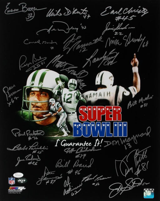 1969 new york jets super bowl iii team signed signed 16x20 24 signature black photo jsa 69jetsblack certificate of authenticity