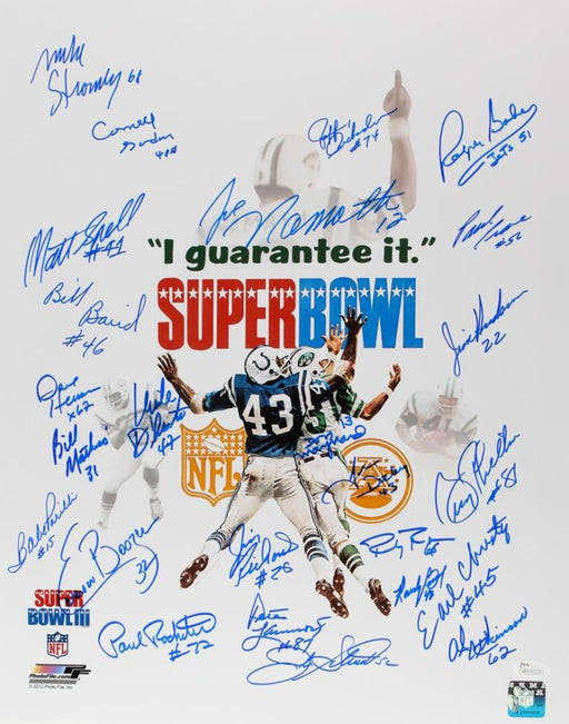 1969 new york jets super bowl iii team signed signed 16x20 24 signature white photo jsa 69jetscover certificate of authenticity