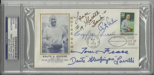 knute rockne first day cover signed by 5 hall of fame receivers hirsch alworth fears lavelli pihos p certificate of authenticity