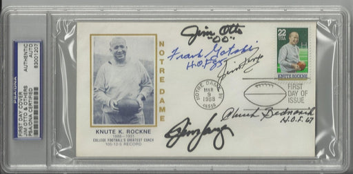 knute rockne first day cover signed by 5 hall of fame centers otto ringo bednarik gatski langer psa  certificate of authenticity