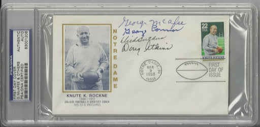 knute rockne first day cover signed by 4 chicago bears hall of famers butkus atkins connor mcafee ps certificate of authenticity