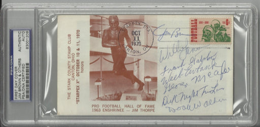 jim thorpe first day cover signed by 7 hall of famers brown ewbank walker lane gatski mcafee lanier  certificate of authenticity