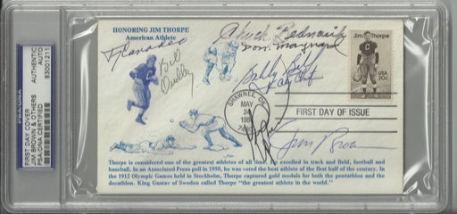 jim thorpe first day cover signed by 6 hall of famers brown bednarik dudley canadeo bell maynard psa certificate of authenticity