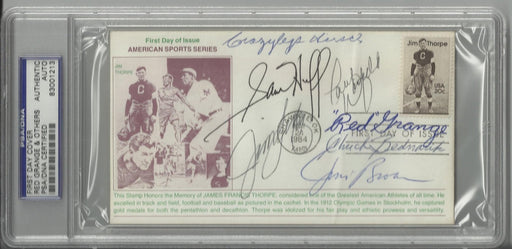 jim thorpe first day cover signed by 7 hall of famers grange brown huff hirsch bednarik langer warfi certificate of authenticity