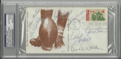 college football 100th anniversary first day cover signed by 7 hall of famers brown walker matson ad certificate of authenticity