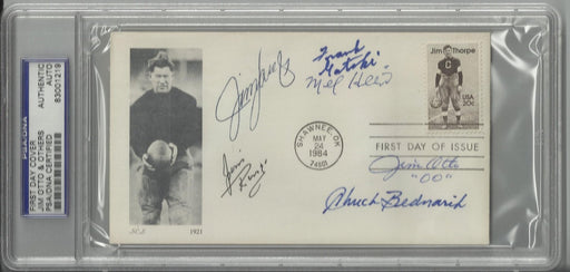 jim thorpe first day cover signed by 6 hall of fame centers hein otto ringo gatski bednarik langer p certificate of authenticity