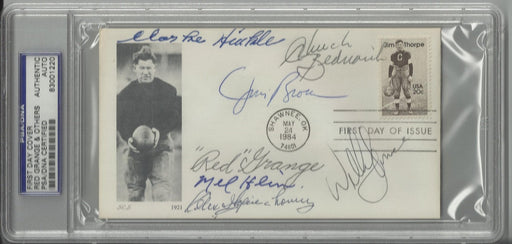 jim thorpe first day cover signed by 6 hall of famers brown hinkle grange hein bednarik wojciechowic certificate of authenticity