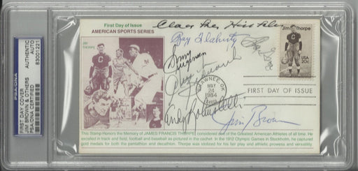 jim thorpe first day cover signed by 7 hall of famers brown hinkle flaherty robustelli groza bedneri certificate of authenticity