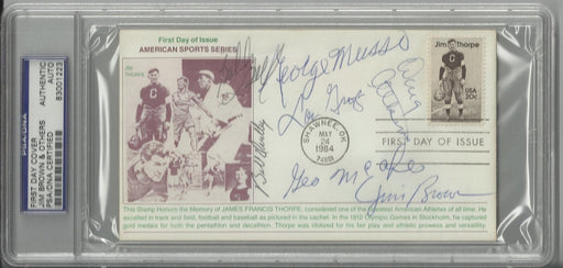 jim thorpe first day cover signed by 7 hall of famers brown musso groza dudley mcafee atkins bell ps certificate of authenticity