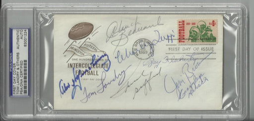 college football 100th anniversary first day cover signed by 8 hall of famers brown landry wojciecho certificate of authenticity