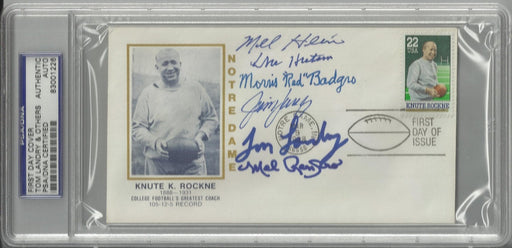 knute rockne first day cover signed by 6 hall of famers badgro landry hutson hein renfro langer psa  certificate of authenticity