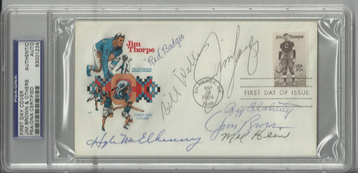 jim thorpe first day cover signed by 7 hall of famers brown hein badgro willis flaherty langer mcelh certificate of authenticity