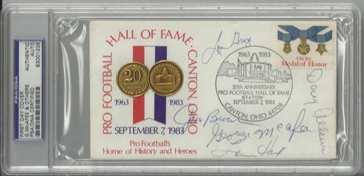 hall of fame 20th anniversary first day cover signed by 5 hall of famers brown hunt groza mcafee atk certificate of authenticity