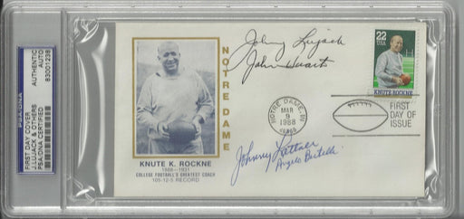 knute rockne first day cover signed by 4 heisman trophy winners lujack bertelli huarte lattner psa 8 certificate of authenticity