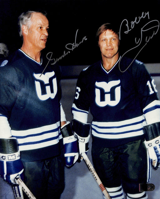 gordie howe & bobby hull signed 8x10 photo aiv certificate of authenticity