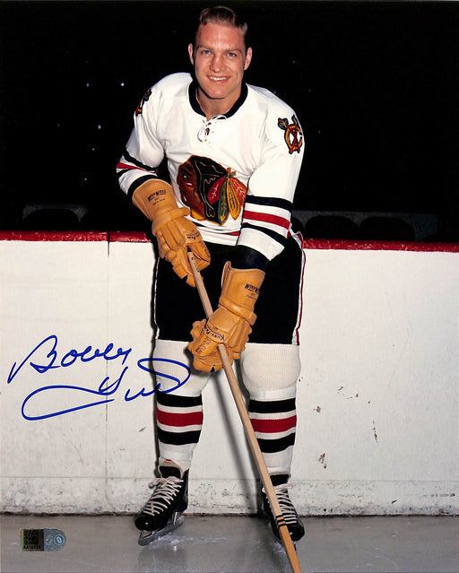 bobby hull signed 8x10 photo in white aiv certificate of authenticity