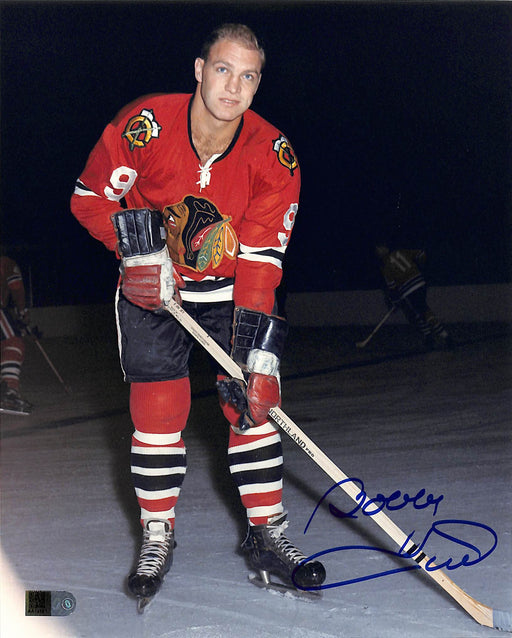 bobby hull signed 8x10 photo in red aiv certificate of authenticity