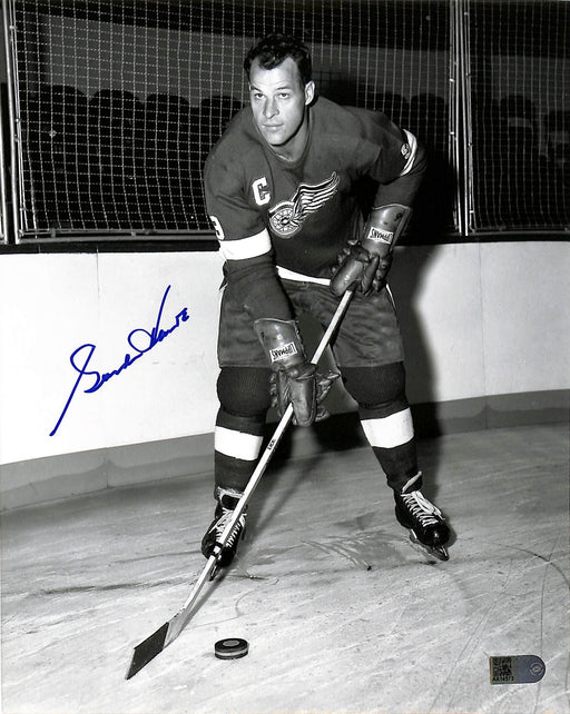 gordie howe signed 8x10 photo in red aiv certificate of authenticity