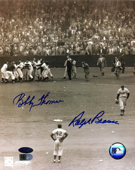 bobby thomson & ralph branca signed 8x10 photo vertical aiv certificate of authenticity