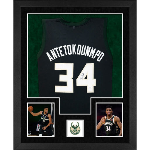 antetokounmpo autographed milwaukee bucks black double suede framed basketball jersey