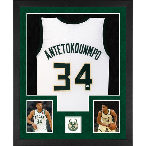 antetokounmpo autographed milwaukee bucks white double suede framed basketball jersey