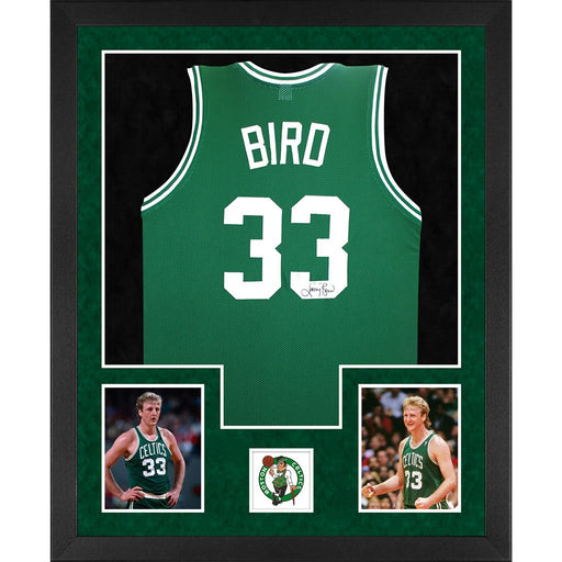 bird autographed boston celtics green double suede framed basketball jersey