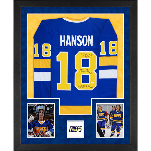 3-Signature Hanson Brothers Signed Slap Shot Double-Suede Vertical Framed Blue Jersey (JSA)
