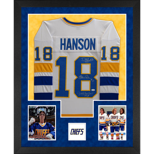 3-Signature Hanson Brothers Signed Slap Shot Double-Suede Vertical Framed White Jersey (JSA)