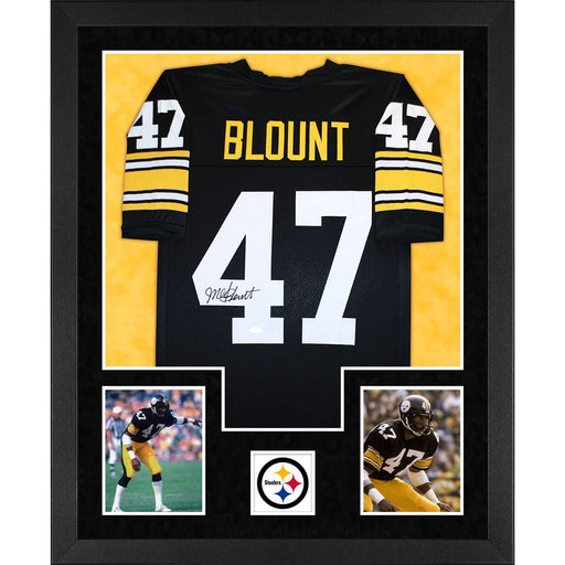 blount autographed pittsburgh steelers black double suede framed football jersey