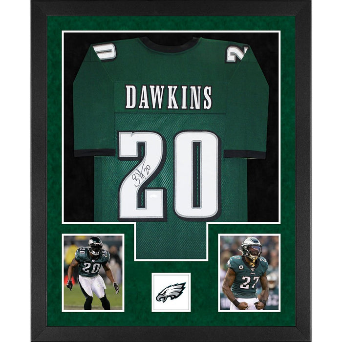 dawkins autographed philadelphia eagles green double suede framed football jersey